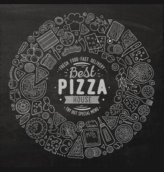 set pizza cartoon doodle objects symbols and vector image