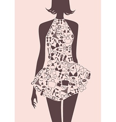 Silhouette of woman in dress from accessories vector image
