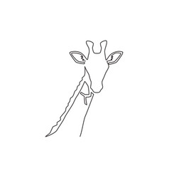 Single continuous line drawing cute giraffe vector