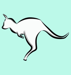 sketch a kangaroo on a light green background vector image