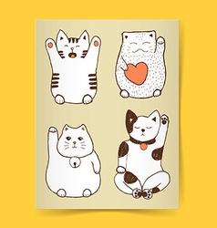 Sketch maneki neko poster vector