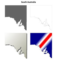 South Australia outline map set vector