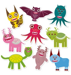 Sticker set Funny monsters collection on white vector image