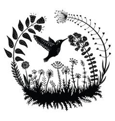stylized hummingbird drinking vector image