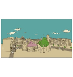 Stylized Townscape Sketch vector