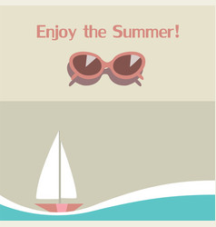 summer background with seasunglasses and yacht vector image