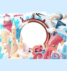 Summer sea collage photo frame vector