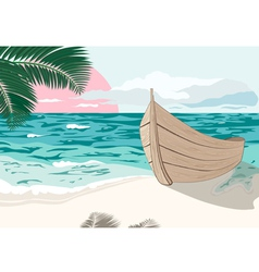 The boat is on sea shore at summer vector