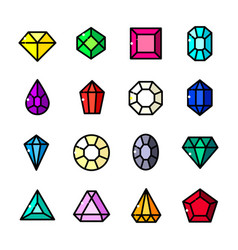 Thin line gems icons set vector
