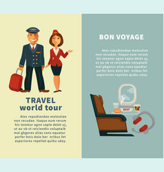 Travel world tour and bon voyage vertical posters vector