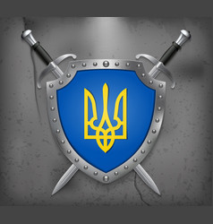 Tryzub trident national symbols of ukraine the vector