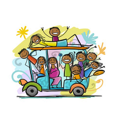 tuk-tuk with company of friends goes to surfing vector image