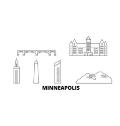 United states minneapolis line travel skyline set vector