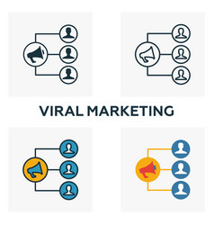 viral marketing icon set four elements in vector image