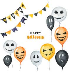 Watercolor happy halloween card isolated vector