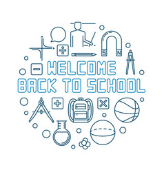 welcome back to school round outline blue vector image