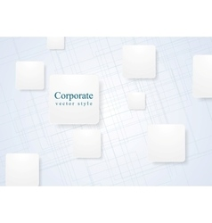 White geometric squares on lined background vector image