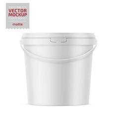 white matte plastic bucket with handle mockup vector image
