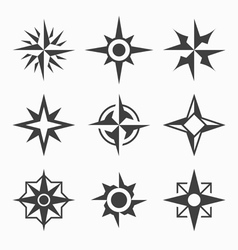 Wind rose icons vector