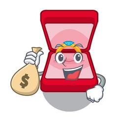 With money bag wedding ring box in cartoon shape vector