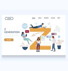 Z generation website landing page design vector