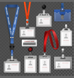badge id identification white blank plastic vector image