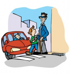 child helps blind man vector image vector image
