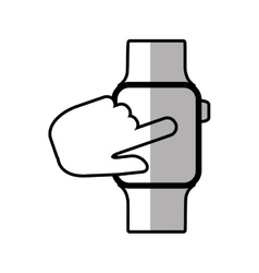 Finger touch smart watch wearable shadow vector