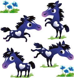Set of black pony vector image vector image