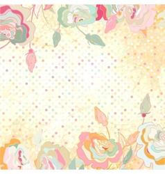 Vintage dots Rose Floral Background vector image
