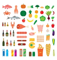 Big collection of food items vector image vector image