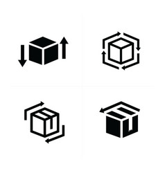 box and arrow icons set vector image vector image