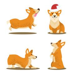 Corgi dog set of four icons vector