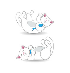 cute white cat lying on its back in two positions vector image