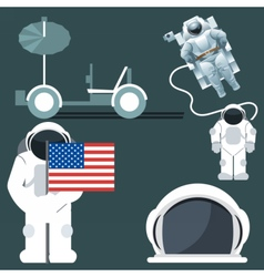 Digital silver and white astronauts icon vector image
