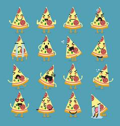 pizza character emoji set vector image