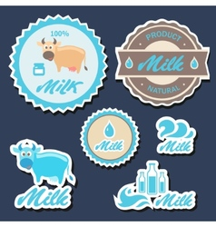 Set of labels and icons for milk in vector image