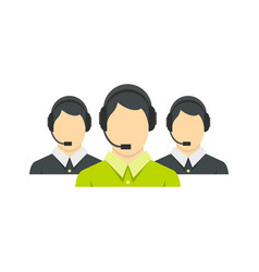 three support phone operators icon flat style vector image