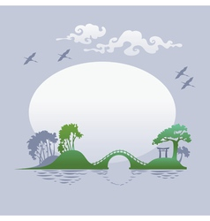 Abstract asian landscape - morning vector image vector image