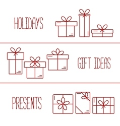 banners with thin line icons of gift boxes vector image