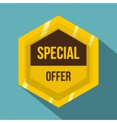 Golden special offer label icon flat style vector image vector image