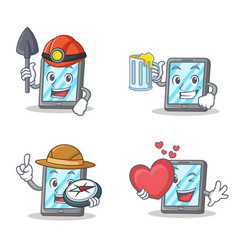 set of tablet character with miner juice explorer vector image vector image