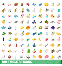 100 emirates icons set isometric 3d style vector image vector image