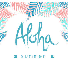 aloha summer ribbon leaves white background vector image vector image