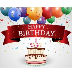 Birthday card with cake and ribbon vector image