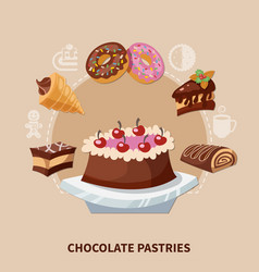 chocolate pastries round composition vector image