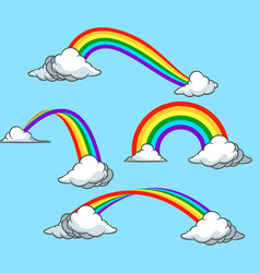 rainbow and cloud collection set vector image