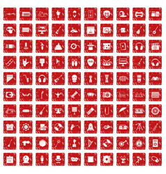 100 show business icons set grunge red vector
