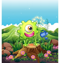 A monster above the stump watering the plants vector image