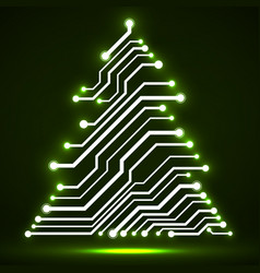 Abstract technology christmas tree circuit board vector